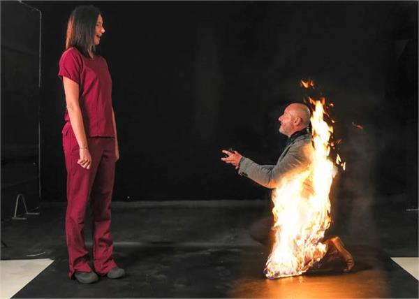 uk professional stuntman proposes girlfriend fire