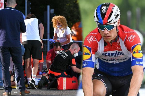 cyclist collided during race champion fabio jakobsen in coma