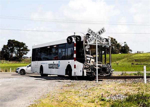 new zealand school bus train collision