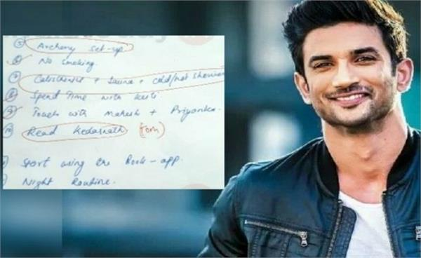 sushant singh rajput s handwritten notes from