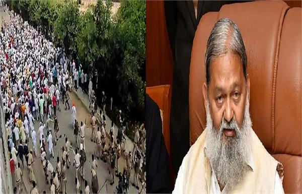 lathi charge on farmers in kurukshetra anil vij