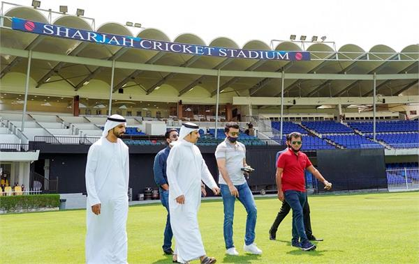 ipl 2020  ganguly inspects sharjah stadium  see photos