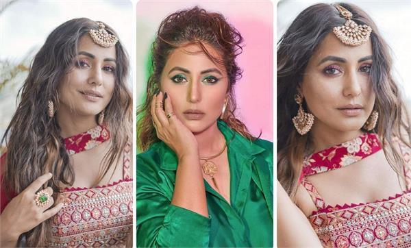 hina khan red green look viral on social media