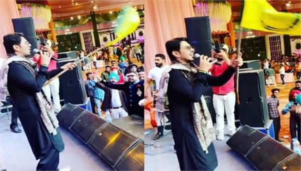 jass bajwa seen singing farmer  s song with farmer  s flag on
