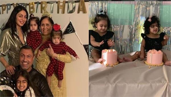 neeru bajwa celebrates first birthday of her twin daughters