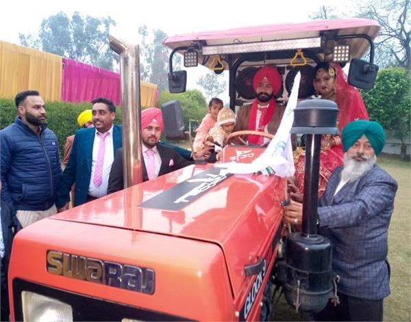 patti  kisani sanghars  tractor  wedding