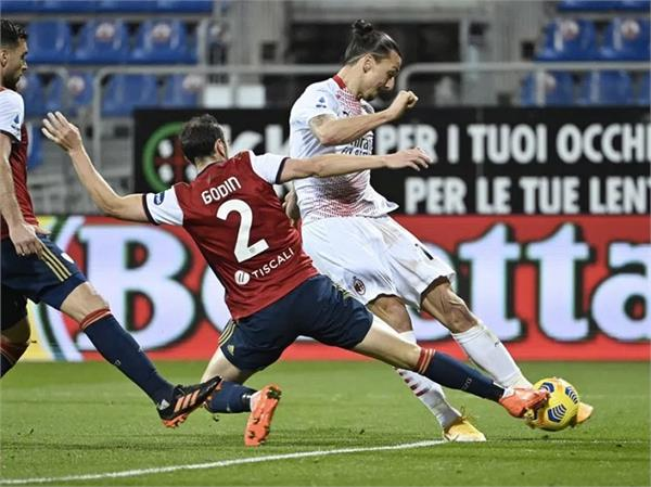 ibrahimovic 2 goals ac milan cagliari defeated