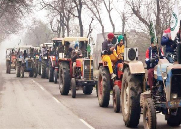 farmers protest trial run on tractor parade in punjab villages
