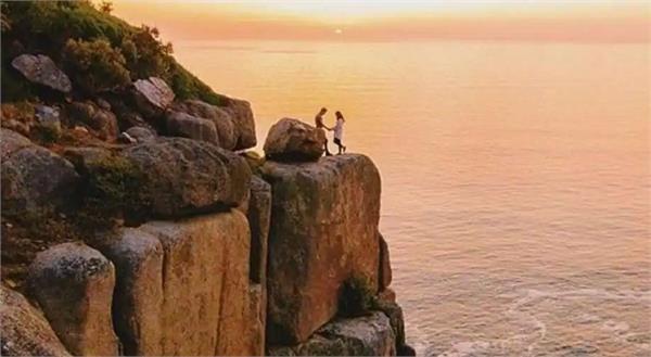 proposal disaster woman falls down cliff proposal
