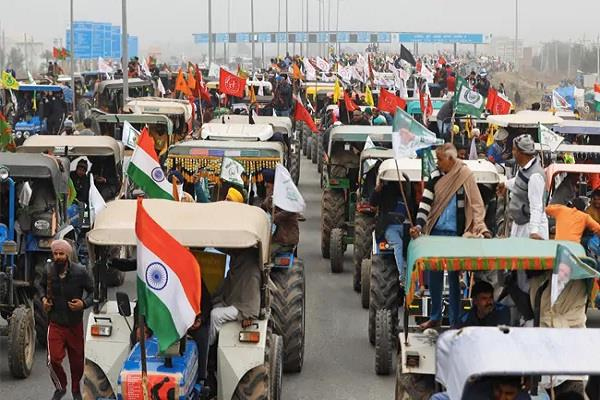 parade  tractor trolley  farmer morcha