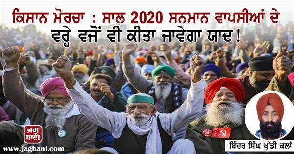 farmer protest year 2020 honorary return