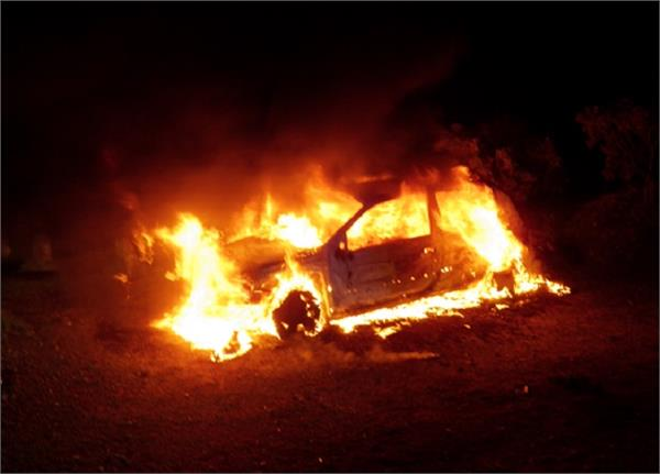 jalandhar  youth  car  fire  second  broken glass