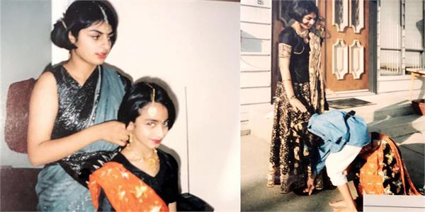 neeru bajwa childhood pics with sisters