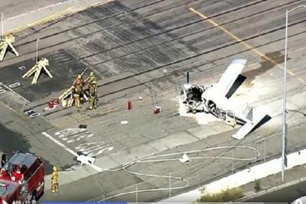 a small plane collided with a truck in california  killing the pilot