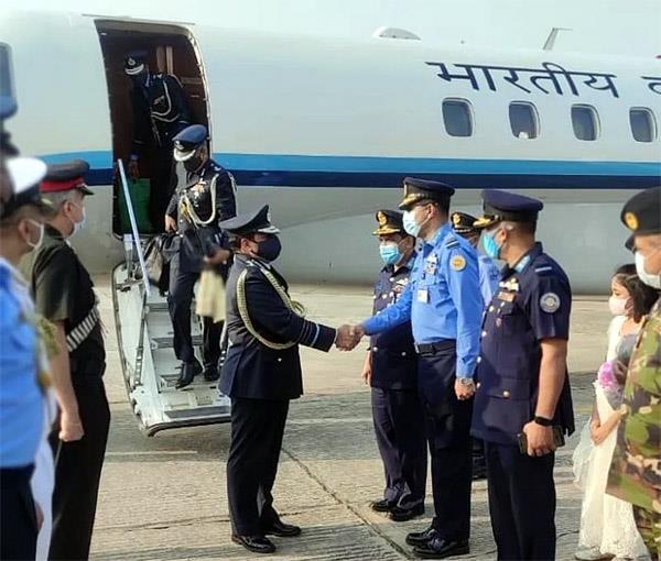 air force chief rks bhadauria arrives in bangladesh on a four day visit