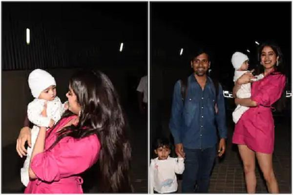 jahanvi kapoor appeared with cute baby in ruhi screening