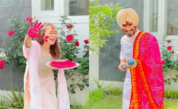 neha kakkar rohanpreet singh first holi celebrations with family