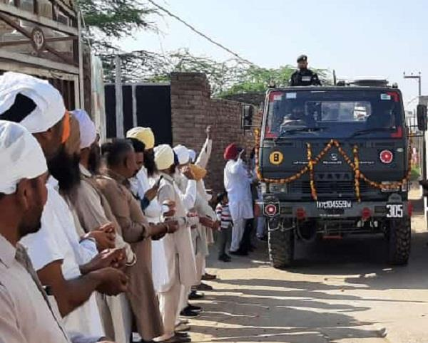 the indian army vijay mashal yatra in the villages of lambi malout