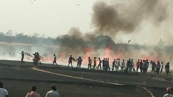 20 acres of wheat crop burnt to ashes in my bhadrali
