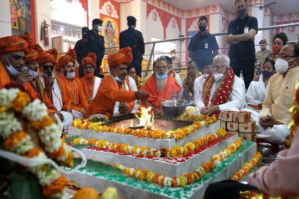 haryana manohar lal khattar temple construction foundation stone