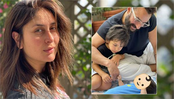 kareena shared a picture of her young son playing with his father and brother