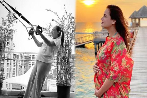 actress diya mirza bumps baby while working out flute  video goes viral