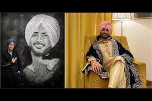 fan made sketch of satinder sartaaj on board