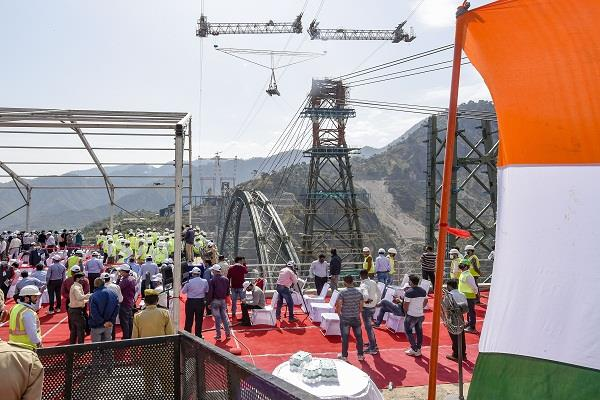 chenab river world railway bridge construction work narendra modi