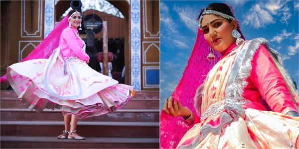 sapna choudhary stunning photoshoot in pink lehanga
