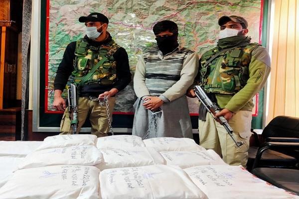 jammu and kashmir terrorist associate arrested 60 crore heroin seized