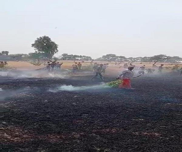 the fire burnt 8 acres of wheat to ashes
