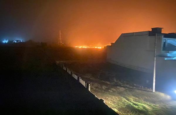a fire broke out in a wheat field in a village near patran