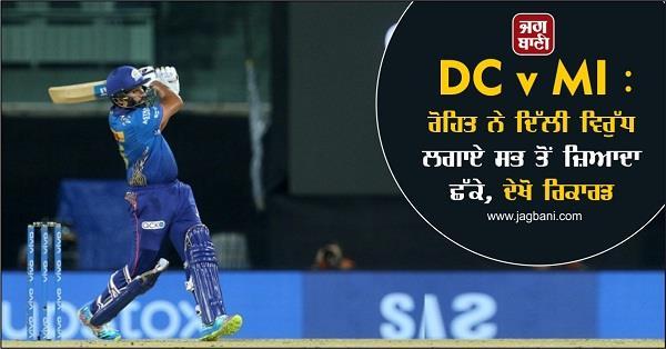 dc v mi rohit hit the most sixes against delhi