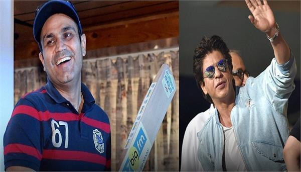 sehwag praises shah rukh khan  plays like pollard  can score hundreds