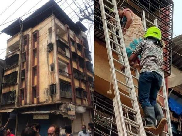 portion of building collapses in ulhasnagar