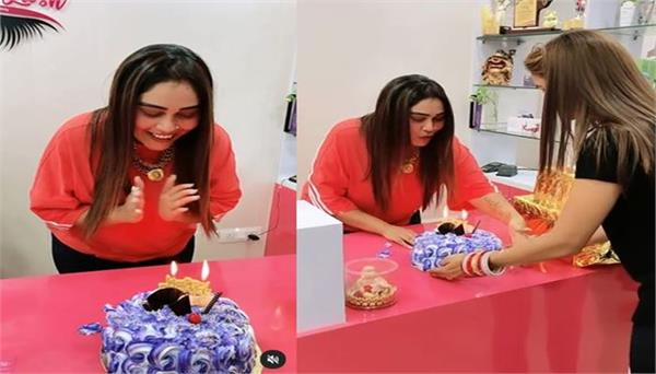 afsana khan cuts cake before birthday video goes viral