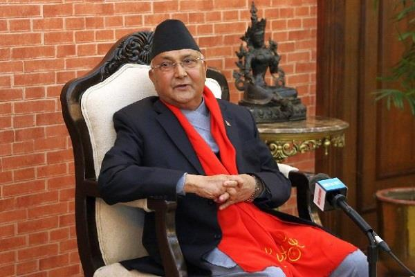 nepal  s prime minister oli lays foundation stone