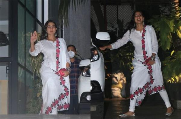 sara ali khan in a white suit stole the hearts of fans  photos
