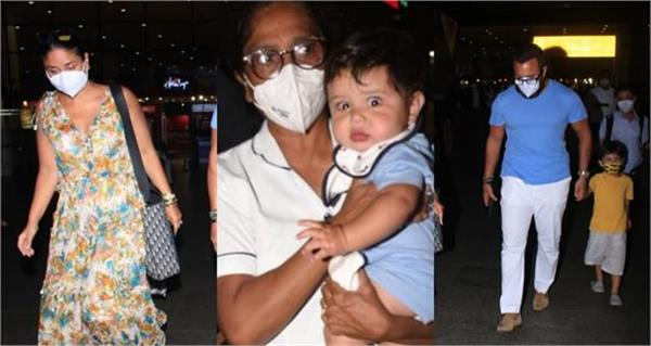kareena returns from maldives with husband and sons
