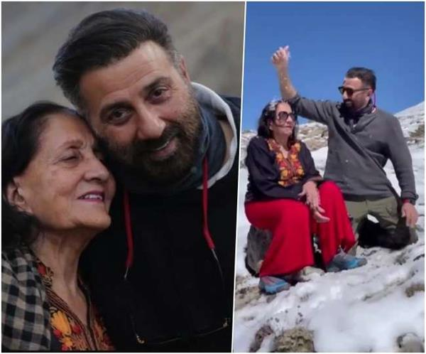 sunny deol is seen having fun with his mother parkash kaur  video