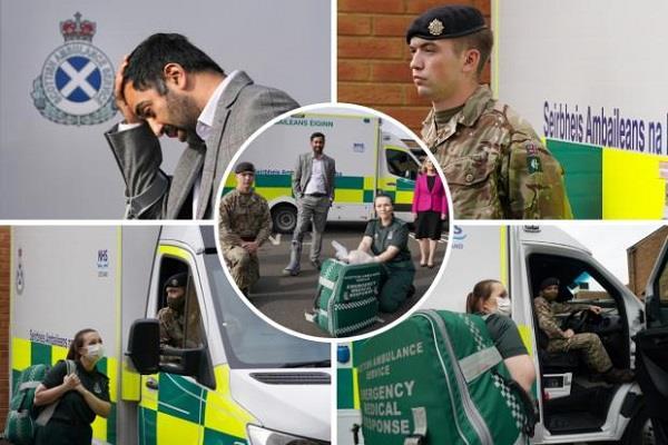 scotland  troops arrive to run an ambulance