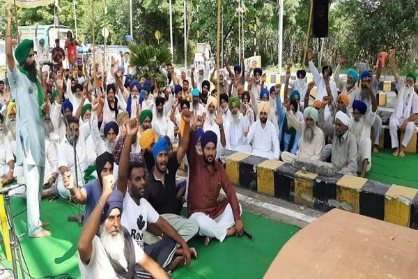 farmers protest at toll plaza mangarh during india bandh